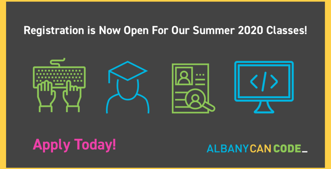 AlbanyCanCode is Pleased to Announce That Registration is Now Open for Summer 2020!